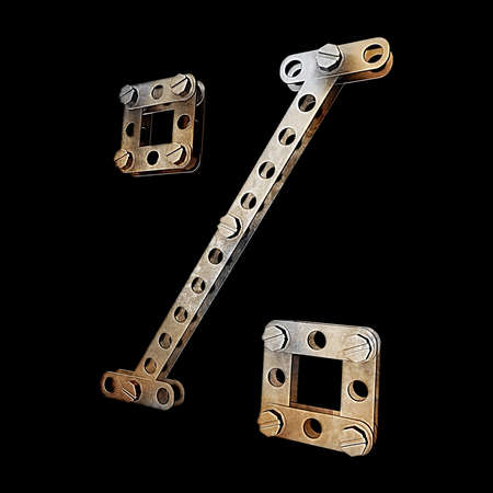grunge metallic figure with rivets and screws isolated on black background 3d render high resolution photo