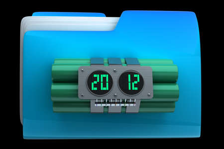 ticking: folder with Explosives alarm clock High resolution 3D