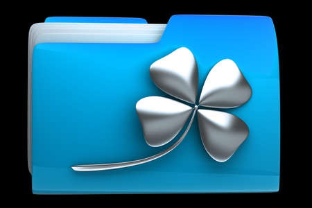 high resolution: folder icon with clover High resolution 3D  Stock Photo