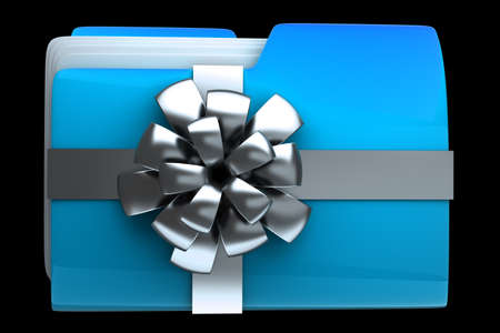 dir: folder with silver ribbon and bow icon iHigh resolution 3D  Stock Photo