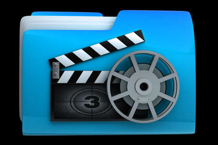 dir: folder clap board with countdown isolated on black background High resolution 3D  Stock Photo