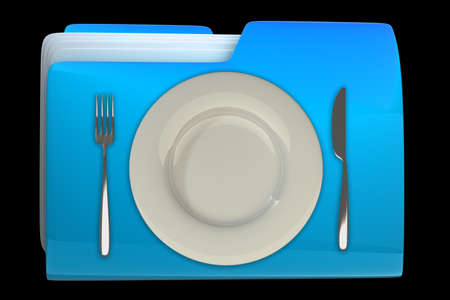 archive: folder with Knife, white plate and fork File 3D. Icon isolated on black background High resolution  Stock Photo