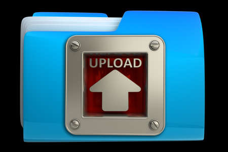 dir: folder with upload symbol isolated on black background High resolution 3d  Stock Photo