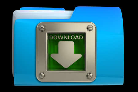 dimensionally: folder with download symbol isolated on black background High resolution 3d
