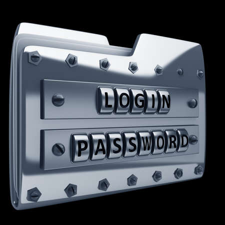 unauthorized: metal folder icon with security password isolated on black background High resolution 3d render
