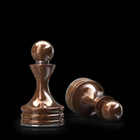 high resolution: Chess Pawn wooden High resolution. 3D image