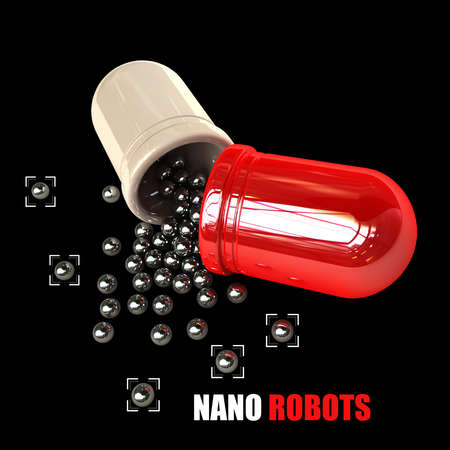 Small nano balls pouring from a large capsule isolated on black background high resolution 3d illustration  illustration