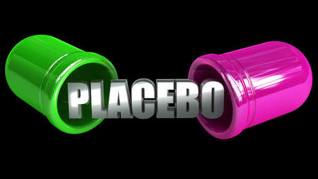 placebo: open medical pill. concept of placebo isolated on black background. high resolution 3d illustration  Stock Photo
