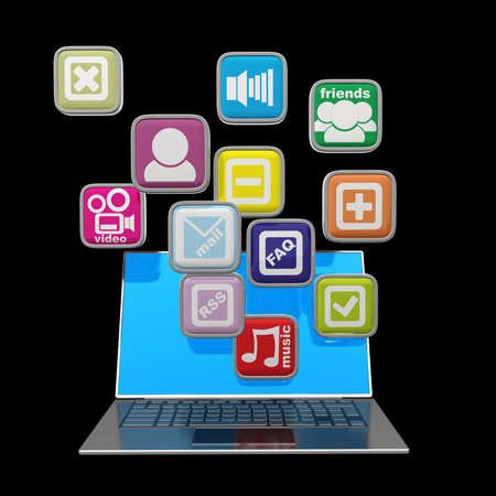 Computer mobility. laptop with color application icons isolated on black background High resolution 3d render  Stock Photo - 18772486