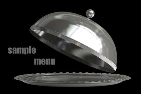 cloche: open empty metal silver platter or cloche with space to place object isolated on black background 3d render
