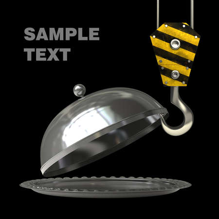 industrial kitchen concept. open empty metal silver platter or cloche with Crane hook isolated on black background. 3d render  photo