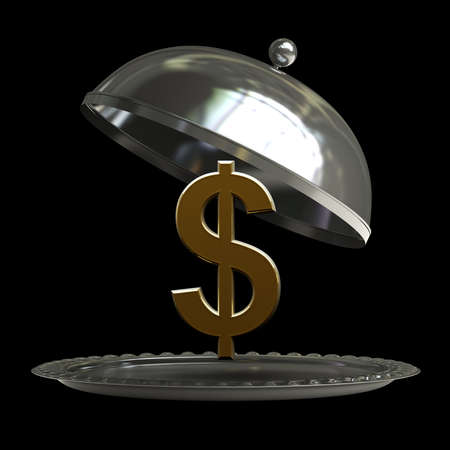 open empty metal silver platter or cloche with US dollar symbol isolated on black background 3d render  photo