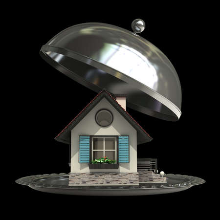 open empty metal silver platter or cloche with house isolated on black background 3d render  photo