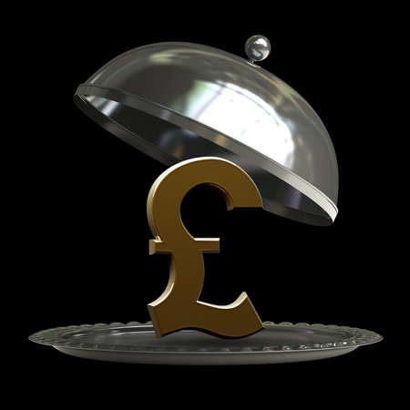 british foods: open empty metal silver platter or cloche with British pound symbol isolated on black background 3d render