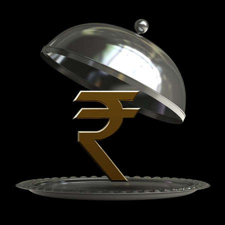 open empty metal silver platter or cloche with Indian rupee symbol isolated on black background 3d render  photo