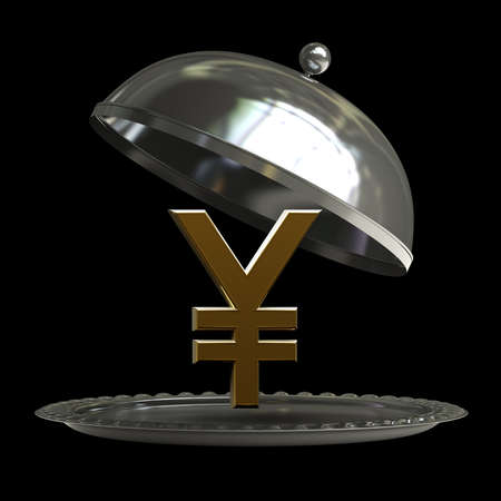 open empty metal silver platter or cloche with Japanese yen symbol isolated on black background 3d render Stock Photo - 18772369