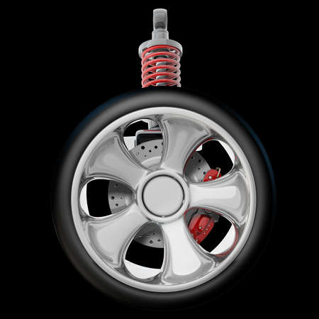 Wheel, shock absorber and brake pads. Isolated on black background. High resolution 3d render Stock Photo - 18772825