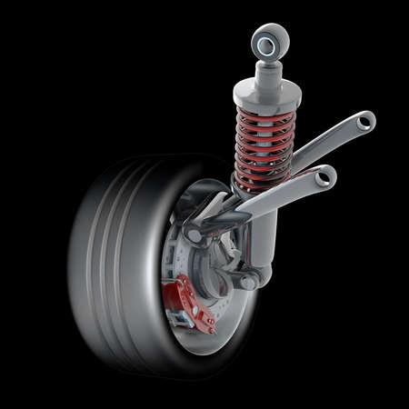 Wheel, shock absorber and brake pads. Isolated on black background. High resolution 3d render  photo