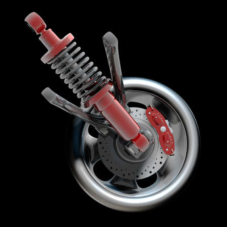 Wheel, shock absorber and brake pads. Isolated on black background. High resolution 3d render Stock Photo - 18772661