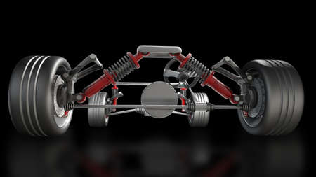 absorber, brake pads and Wheels isolated on black background High resolution 3d render  Imagens