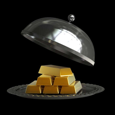 goldbars: open empty metal silver platter with gold bars isolated on black background High resolution 3d illustration