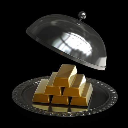 open empty metal silver platter with gold bars isolated on black background High resolution 3d illustration illustration
