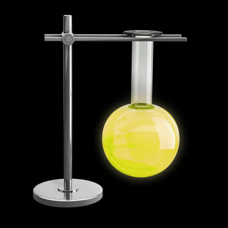 serology: Test Tube on a metal support isolated on black background High resolution 3d render