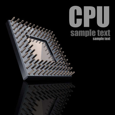 Back side of a CPU card with gold pins isolated on black background. High resolution 3D render  photo