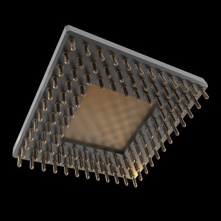 Back side of a CPU card with gold pins isolated on black background. High resolution 3D render