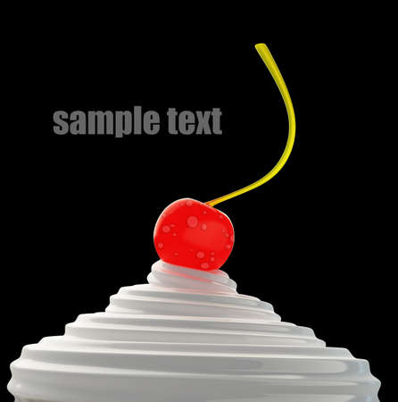 creme with cherry isolated on black background 3d render High resolution  photo