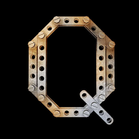 rivet: grunge metallic letter with rivets and screws isolated on black background 3d render high resolution