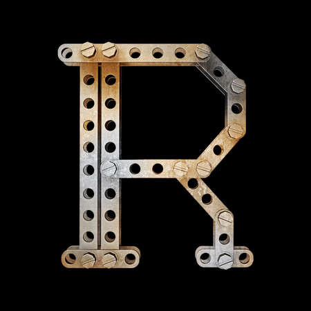 chrome letters: grunge metallic letter with rivets and screws isolated on black background 3d render high resolution