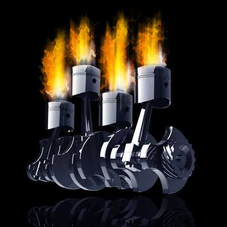 Engine pistons and cog in Fire high resolution 3d illustration