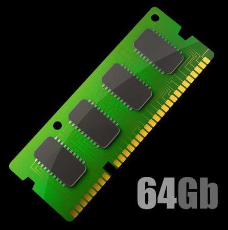 Computer RAM Memory Card isolated on black background 3d render  photo