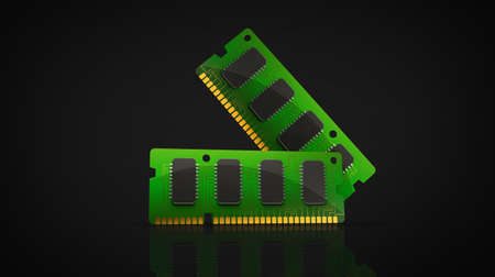 mb: Computer RAM Memory Card isolated on black background 3d render