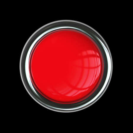Empty red button isolated on black background. High resolution 3d render  photo