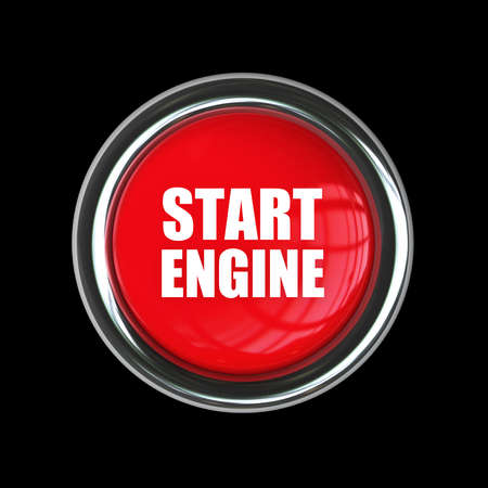 red engine start button isolated on black background. High resolution 3d render image  photo