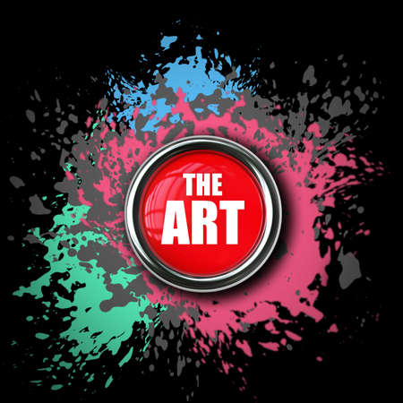 ART red button Paint splat isolated on black background. High resolution 3d render  photo