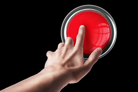 panic button: hand press on big Red button isolated on black background High resolution. 3D image