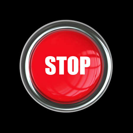 STOP red button isolated on black background. High resolution 3d render  Stock Photo - 18772382