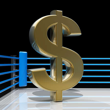 boxing ring: Boxing ring with US dollar symbol isolated on black background - 3d render high resolution  Stock Photo
