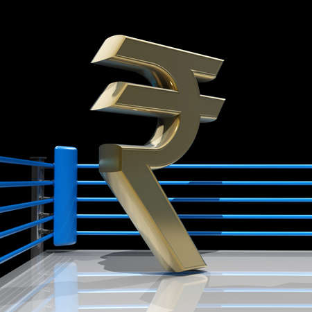 Boxing ring with Indian rupee symbol isolated on black background - 3d render high resolution
