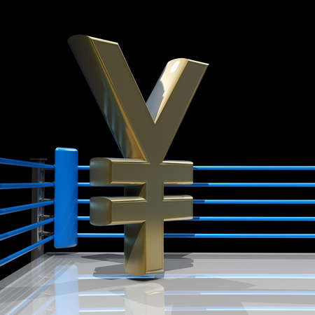 Boxing ring with Japanese yen symbol isolated on black background - 3d render high resolution