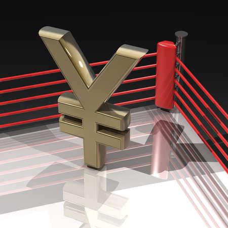 Ring de boxeo con el s�mbolo de yen japon�s aislado en fondo negro - 3d hacer alta resoluci�n Foto de archivo - 18779421
