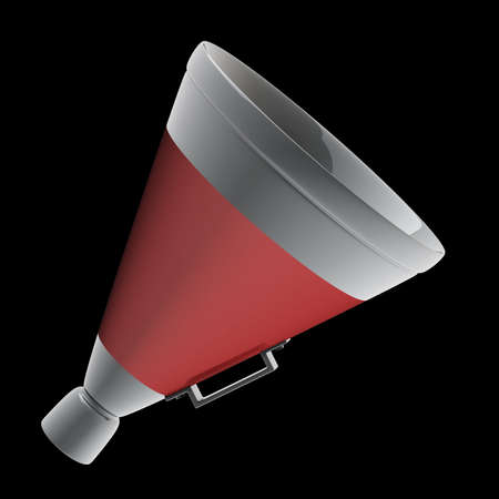 3d red megaphone isolated on black background photo