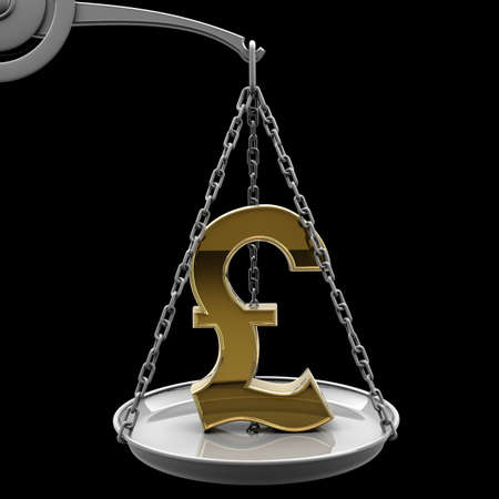 high scale: Scale with golden British pound symbol isolated on black background High resolution 3d render