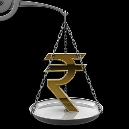 high scale: Scale with golden Indian rupee symbol isolated on black background High resolution 3d render