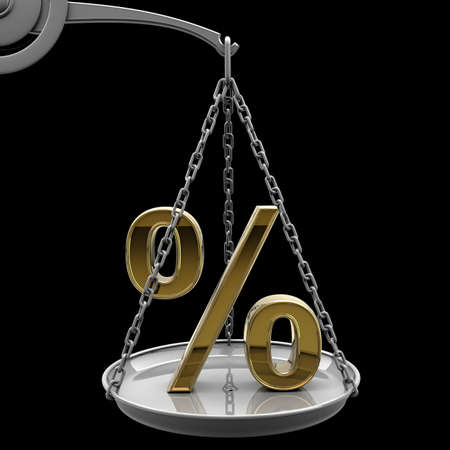 high scale: Scale with golden percent symbol isolated on black background High resolution 3d render