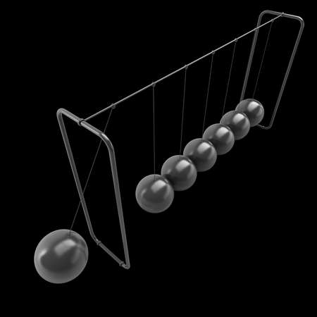 pendulum with metal balls isolated on black background 3d Illustration  illustration