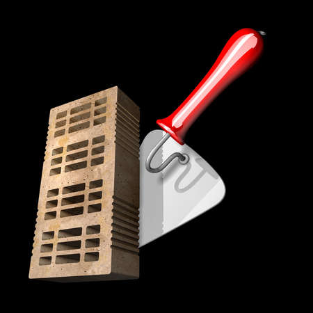 Building and construction concept. brick and metal trowel isolated on black background High resolution 3d render  photo